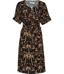 palm dress jurk knielengte zwart cream