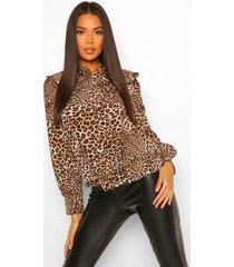 luipaardprint blouse met kraag en knopen, brown
