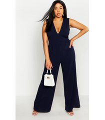 plus plunge wide leg jumpsuit, navy