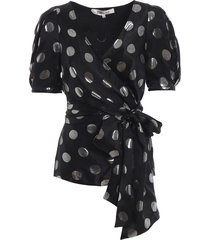 larryn polka dot silk jacquard blouse