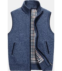 maglione da uomo in caldo colore solido con colletto alla base