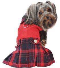 parisian pet scottish plaid pleated dog dress