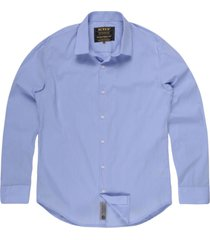 camisa masculina tricoline bolso azul claro