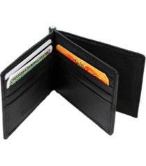 champs genuine leather bill fold money clip with center card holder