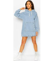 hooded denim pullover dress, light blue