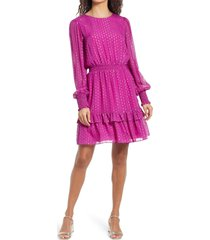women's lilly pulitzer dotti long sleeve silk dress, size 16 - purple