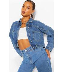 crop pocket jean jacket, mid blue