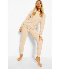 fleece teddy pyjama set, stone