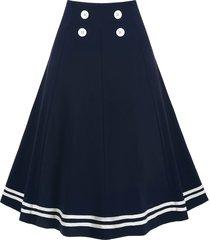 striped a line buttoned sailor retro skirt