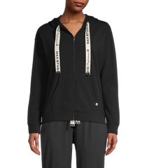 max studio performance women's logo zip-up hoodie - jet black - size l
