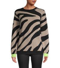brodie cashmere women's lulu zebra-print cashmere sweater - organic light beige black - size xs