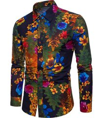floral tree print button up lounge shirt