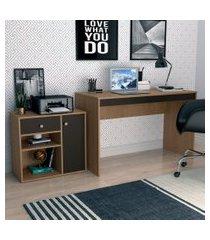 conjunto de mesa para notebook hype com armário ravena 1 pt 1 gv mel e preto