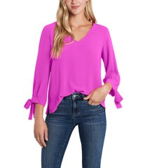 women's cece tie sleeve top, size x-small - pink