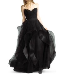 basix black label strapless sweetheart tulle gown