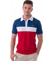 camisa polo vista mare saint marine slim fit azul e vermelho