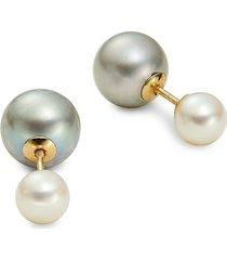 14k gold & 6-8mm white freshwater pearl double sided stud earrings