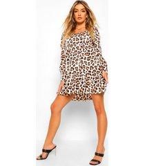 gesmokte luipaardprint jurk met franjezoom en vierkante hals, brown
