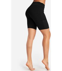 pantalones cortos de ciclista de ciclista de cintura alta lisos negros