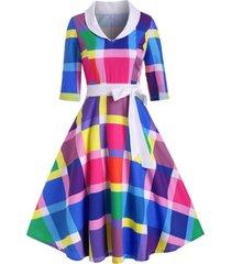 side zipper bowknot rainbow plaid vintage dress