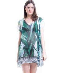 blusa 101 resort wear tunica decote v crepe estampada folhas verdes