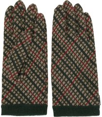 undercover check knitted gloves - green