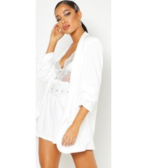 woven tailored ruched sleeve blazer, white