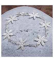 silver filigree bracelet, 'citrus blossoms' (peru)