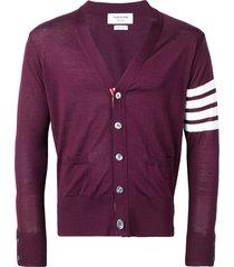 thom browne fine merino wool v-neck cardigan - red
