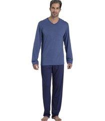 pijama recco de viscoflex e viscose azul