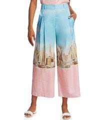 lela rose women's nyc skyline cotton poplin trousers - skyline - size 6
