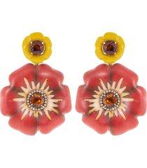 sculptural botanical marquetry flower earrings