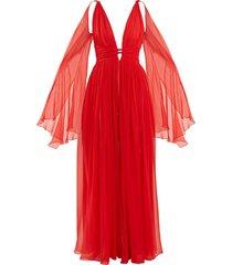 deep v-neck sleeveless silk-chiffon gown