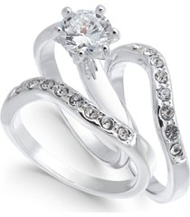 charter club silver-tone crystal wavy ring, created for macy's
