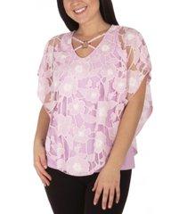 ny collection women's plus size knit burnout poncho