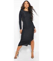 geribbelde midaxi jurk met uitgesneden rug en strik, black