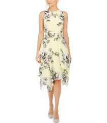 jessica howard petite floral handkerchief-hem dress