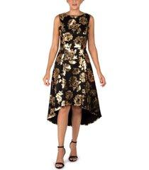 donna ricco floral-print high-low dress
