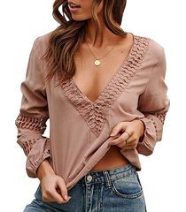 crocheted lace panel long sleeve blouse