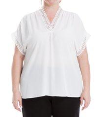 max studio women's plus v-neck blouse - white - size 2x (18-20)