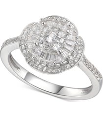 cubic zirconia baguette cluster halo ring in sterling silver