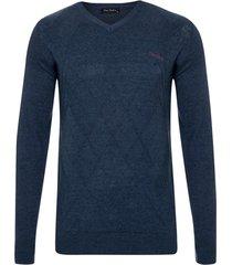 suéter tricot jacquard marinho soft