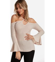beige plain halter cold shoulder bell sleeves t-shirts