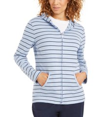 karen scott petite striped zippered hoodie, created for macy's