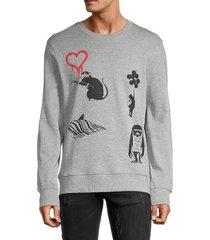 eleven paris men's mixed print cotton-blend sweatshirt - grey - size l