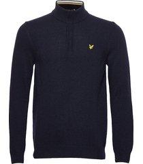 1/4 zip tipped funnel neck knitwear half zip jumpers blå lyle & scott