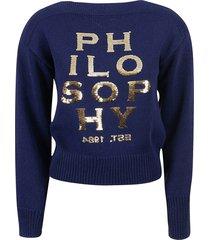philosophy di lorenzo serafini logo embellish ribbed sweatshirt