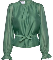 sheer blouse with back buttons and puffed sleeves blus långärmad grön designers, remix