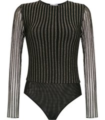 nk lurex knit bodysuit - black