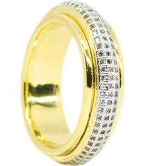 anel kumbayá joias venice saturno banho ouro feminino - feminino